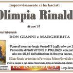 LUTTO OLIMPIA RINALDI