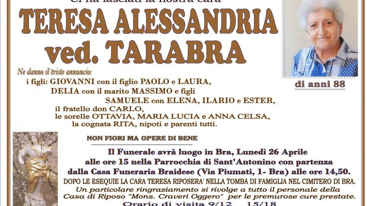 LUTTO TERESA ALESSANDRIA